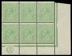 1915 ½d Green Single Wmk KGV CA monogram lower right corner block of 6 from Electro 4, lightly hinged on 2 top right units and selvedge, remaining units MUH. ACSC 63(4)zb. Catalogue Value as strip of 3 $900.00.