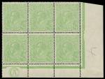 1918 ½d Green Large Multiple Wmk KGV CA monogram lower right corner block of 6 from Electro 4, lightly hinged on top units and selvedge, lower units MUH. Monogram unit with faint tone spot. ACSC 65(4)zb. Catalogue Value as strip of 3 $650.00.