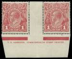 1918 1d Carmine-Red Single Wmk KGV Plate 4 Harrison one-line imprint pair with