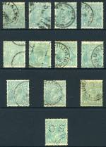 1927 1/4 Blue Small Multiple Wmk perf 14 KGV used. (12, one perforated OS). Odd minor fault.