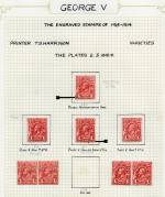 Collection of hundreds of mostly used KGV issues with all watermarks represented, including shade variations, numerous varieties and some perforated OS. Noted 1913 1d Rose-Red Engraved with double horizontal perforations MLH, 1918 1d Red Smooth and Rough paper Substituted cliche Die I and II GU, 1918 1d Red Die III MLH and FU (2), 1915 4d Orange Line through