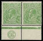 1915 ½d Green Single Wmk KGV JBC monogram marginal pair from Electro 5 MLH and centered to right. ACSC 63(5)zc. Catalogue Value as single $325.00.
