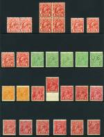 Selection of 205 mainly lower value MUH KGV issues in singles, pairs and blocks including 1d Red Engraved (10), 1d Red (11), 1d Violet (7), 1½d Red (24), 2d Orange (3), 2d Red (3, one with White flaws before