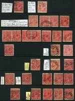 Accumulation of hundreds of used 1d Red smooth and rough paper Single Wmk KGV issues, including major plate varieties with varying duplication and shade variations. Noted Single-line perf Dot before right