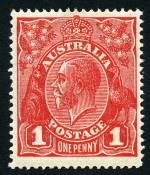 1918 1d Carmine-Red Die III Single Wmk KGV MUH and reasonably well centered.