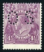1928 4½d Violet Small Multiple Wmk perf 13½ KGV perforated OS MUH and centered high. ACSC 120b. Catalogue Value $750.00.