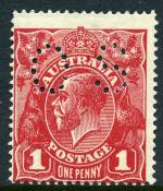 1919 1d Deep Carmine-Rose Large Multiple Wmk KGV perforated OS MLH and centered to lower left. ACSC 74b. Catalogue Value $375.00.