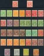 Selection of 101 mainly lower value mint KGV issues including odd variety and perforated OS with varying duplication. Noted 1½d Green (2), 2d Orange (4), 4d Violet (2) and 4d Blue perf OS Single Wmk, Large Mult Wmk set, 4d Violet Small Mult Wmk perf 14 (2), 1d Green Die II and 4d Olive (2) Small Mult Wmk perf 13½ and 3d Blue (2), 5d Brown and 1/4 Blue C of A Wmk. Some faults and variable centering.