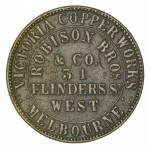 Robinson Bros & Co, Victoria Copper Works, 31 Flinders St West, Melbourne 1d Token with Stokes Vine Branch No 1 reverse F. Obverse with small scratch. Circa 1862. Renniks 455. Rarity R5.