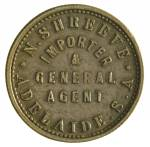 N.Shreeve, Importer & General Agent, Adelaide S.A. undated ½d brass check piece Type I obverse with