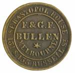 F.& G.F. Bullen, Wholesale & Retail Importers, Melbourne undated 1d brass check piece gVF. Scarce. Renniks R62. Rarity R6.