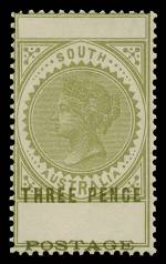 1904 3d Olive-Green Thin Postage perf 12 Long Tom with Three Pence and Postage misplaced upwards by 4½mm, resulting in blank value tablets and Postage at the base of the stamp MVLH. Sg 280, refer to footnote. Catalogue Value £950.00.