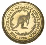 1994 Perth Mint 1/10oz Gold Nugget Proof coin, with certificate in presentation folder. Contains 3.133g of .9999 Gold.