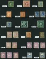 Collection of 227 mint stamps, plus 7 different Reprint issues from 1862 to 1907, including watermark, perforation and shade variations. Noted 1860-72 1/- Carmine perf 13 Queen Victoria Diadem with double lined 12 numeral Wmk, 1905 20/- Cobalt-Blue perf 11 Crown over A Wmk Carrington, a useful range of Postage Due issues including some O/P Specimen and many other handy items. Varying duplication, including several blocks and some MUH content. Usual variable condition. Catalogue Value £6,225.00+.
