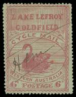 1897 6d Red on Pale Green Lake Lefroy Goldfield local cycle mail stamp used with H & M manuscript cancellation, being the initials of the proprietors Hillier and Maskell. 36 used stamps are recorded by Reynolds and Pope, this is an additional new discovery making it one of around 40 known used copies. Tiny 2½mm repaired tear at lower left and tiny crease at upper left, but very fresh, with strong colour and good centering. The best frontal appearance of any of the previously documented copies and one of the finest known examples.