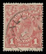 1917 1d Pale Terra Cotta (Brick) Single Wmk KGV FU and centered to right. ACSC 71Q. Catalogue Value $250.00.