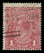 1918 1d Damson Single Wmk KGV FU and centered to lower right. ACSC 72K. Catalogue Value $200.00.
