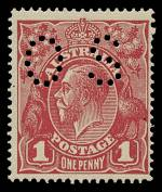 1919 1d Deep Carmine-Rose Large Multiple Wmk KGV perf OS MVLH and centered to right.