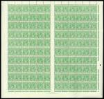 1924-26 1d Green Single Wmk MUH well centered complete Plate 4 sheet of 120 with Mullett Imprint and all constant varieties. Tone spot on gum of 2 units.