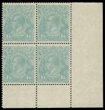 1928 1/4 Turquoise Blue Small Multiple Wmk perf 13½ KGV in MUH reasonably centered corner block of 4. Lightly hinged on selvedge only. Attractive.