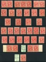 1913 1d Red Engraved KGV mint (35) and used (76) including shade variations and odd variety. Several MUH and many fine used. Odd minor fault.