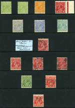 Selection of 15 mint and used KGV issues including 1915 ½d Very Yellow (Cyprus) Green MLH, 1914 1d Deep Red MUH, 1916 4d Lemon-Yellow GU (John Bozic certificate states Lime-Yellow), 1922 4d Ultramarine MLH (2) and 1920 1/4 Turquoise-Blue MLH Single Wmk and 1926 1d Green Die II Small Mult Wmk perf 13½ VFU. Odd fault.
