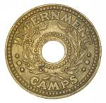 1941 One Penny WWII Brass Internment Camp Token gVF.