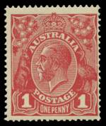 1918 1d Deep Bright Red Die III Single Wmk KGV with variety
