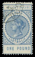 1902 £1 Blue Thin Postage Long Tom CTO without gum. Sg 279. Catalogue Value £250.00.