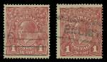1916 1d Red Die I Smooth paper KGV Substituted Cliche and 1918 1d Red Die II Rough paper KGV Substituted Cliche FU.