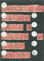 Dealers stock of many hundreds of used 1d Red KGV stamps with varieties and shades on Hagner sheets, with varying duplication. Well worth inspecting.